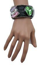 Women Black Leather Bracelet Fashion Silver Rhinestones Beads Green Pink Heart