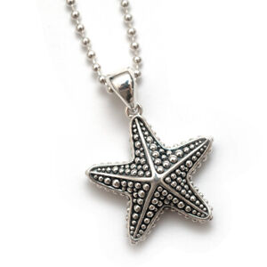 """New Sterling Silver LAGOS Rare Wonders Starfish Necklace Ball Chain 34"""""""