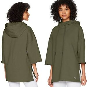 Alo Yoga Womens Sweater S Falls Short Sleeve Pullover Hoodie Hunter Olive Green