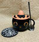 Starbucks MUGS Black Cat W/ Cap Lid Black Spoon Coaster Hallowmas Coffee Mug Cup