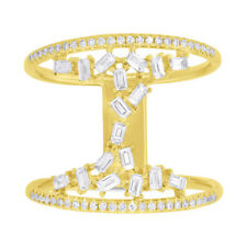 0.55 CT 14K Yellow Gold Natural Floating Baguette Diamond 2 Band Cocktail Ring