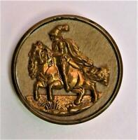 Large Antique Victorian Brass Metal Armored Knight On Horse Picture Button