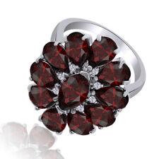 Marquise & Pear Shape Garnet & White 14K White Gold Over Flower Ring