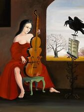 1.5x2 DOLLHOUSE MINIATURE PRINT OF PAINTING RYTA 1:12 SCALE SURREAL GOTHIC ART
