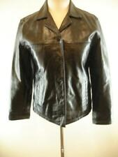 Womens S GAP Black Leather Pea Coat Jacket Military Steampunk Qulted Lining Vtg