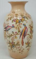 "AGR & Co Crown Ducal Ware Large Blush Vase 28cm 11"" Birds of Paradise"