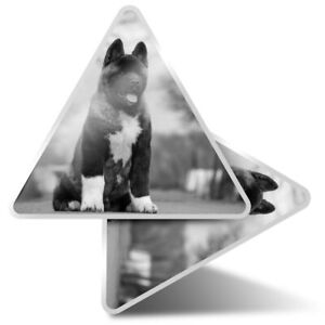 2 x Triangle Stickers  7.5cm - BW - Large American Akita Puppy Dog  #36628