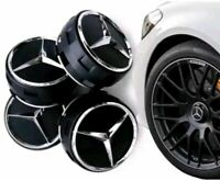 4 x OEM MERCEDES AMG ALLOY WHEEL HUB CENTRE CAPS - BLACK 75MM A B C E S ML CLASS