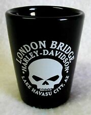 NEW Shot Glass Shooter HARLEY-DAVIDSON Lake Havasu LONDON BRIDGE Black Ceramic