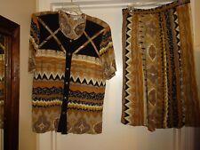 Beverly Rose Ladies Rayon Size Medium 2 Pc Blouse & Skirt Brown & Black