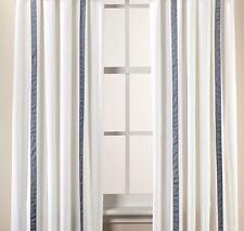 "Wamsutta Kingston Rod Pocket Curtain Window Panel 84""  ~ White / Blue ~ New"
