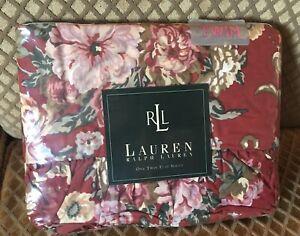 NIP Vintage Lauren Ralph Lauren Marseilles Floral Red Twin Size Flat Sheet!