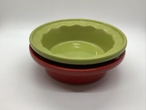 SET OF 2 CHANTAL Red/Green 1-1/2 CUP INDIVIDUAL PIE/TART DISHES Bowls Bakeware