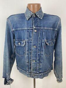 50s True Vintage Levis 507XX Type 2 Denim Jacket M Thrashed Distressed Big E USA