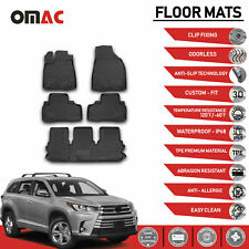 Floor Mats Liner 3D Molded Black Fits 7 Seat 3-Row Toyota Highlander 2014-2019