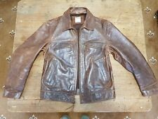 VINTAGE TIMBERLAND HIGHWAYMAN FLYING / FLIGHT / BIKER LEATHER JACKET - UK LARGE