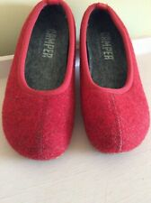 Rare Camper Red Wool Felt Slippers - Size 39, UK 6 great, hardly worn condition!