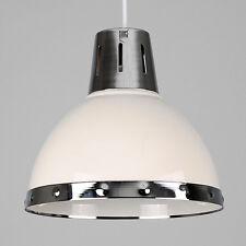 Contemporary Gloss Cream + Chrome Retro Kitchen Ceiling Pendant Light Shade Home