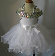 Halter Beaded Infant/toddler/baby/children/kids Glitz Baby Doll Pageant Dress