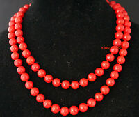 100% NATURAL 9-10mm Red Sea Coral Gems Round Bead Necklace 36'' AAA