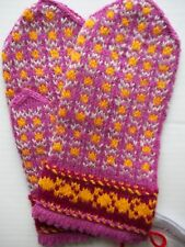 Latvian hand knitted 100% wool mittens, purple/gold/light gray (size S/M)