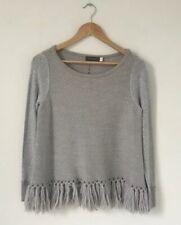 Mint Velvet Women Jumper Size 10 Grey Knit Tassel Wool Alpaca Mix