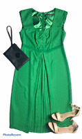 Basque Green Midi Sheath Dress Size 10 Sweatheart Neckline Sleeveless
