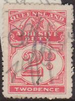 (LX-18) 1940 QLD 2d red adhesive duty (F)