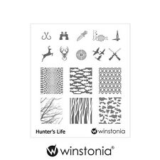 Winstonia Nail Art Stamping Plate HUNTER'S LIFE Stamp Polish Disc Hunt Summer