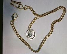 Pocket Watch Chain W/ Buffalo Nickle FobGold tone