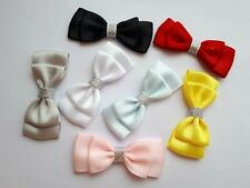 8 x Small 6 cm Satin Ribbon Bows Craft Sewing Double Bows With Silver Trim UK