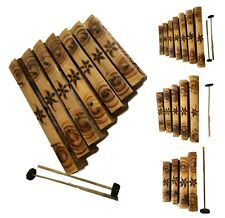 More details for hand made bamboo xylophone wooden glockenspiel carved percussion with stick bala