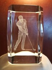 3D Laser Etched Crystal Glass Golfer Beveled Edges Case Paperweight