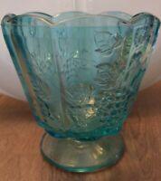 Vintage Westmoreland Blue Glass Paneled Grape Opalescent