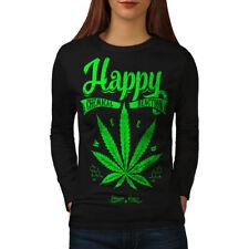 Wellcoda Happy Weed Reaction Womens Long Sleeve T-shirt, Smoking Casual Design