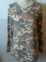 Simply Southern Womens Top Size S Multicolor Camo Long Sleeve Gold Sequin Elbow
