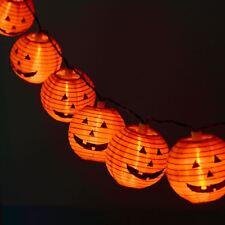 Set Of 10 Paper Pumpkin Lantern LED Halloween String Party Decoration Lights