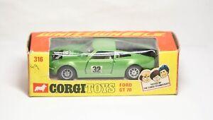 Corgi 316 Ford GT70 In Its Original Box - Near Mint Vintage Original Model