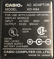 Original CASIO AC ADAPTER AD-K64 6V 800mA Genuine Power Supply - Made in Japan