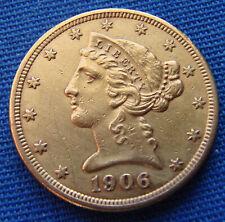 *SUPER LOOKING 1906-S $5.00 GOLD HALF EAGLE - ESTATE FRESH*