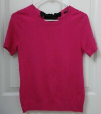 Ann Taylor Knit Top Hot Pink w Black Tie Back Womens XSP Extra Small Petite Sexy