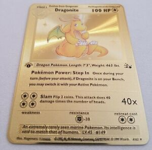 Pokémon TCG Dragonite 4/62 1st Edition Fossil Gold Metal Card SKU#404