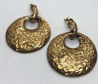 Vintage Sterling Silver Earrings 925 Hoops Vermeil Italy Gold Tone Hammered