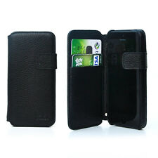 SLIM Lusso Reale Vera Pelle Flip Custodia Pelle Cover Wallet per iPhone 5S Nero