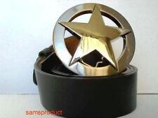 Famous Texas Star Silver Color Belt Buckle +  Belt