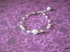 Bracelet Blanc/Cristal pr robe de Mariée/Mariage/Soirée, perles nacrées, argenté