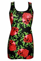 Ladies Gothic Enchanting Skulls Rose Tattoo Print Long Vest Tank Top Punk Emo
