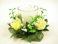 2x Artificial Flowers Rose Gypso Rings w/ Candle and Glass Votive Candle Holder
