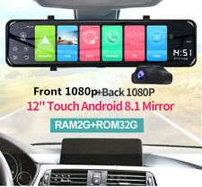 Android 8.1 Car DVR Dash Camera 12In Touch Screen Front Rearview Mirror Recorder