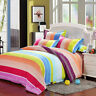 Colorful Stripe Duvet Quilt Cover Bedding Set With Pillowcase Single Double King